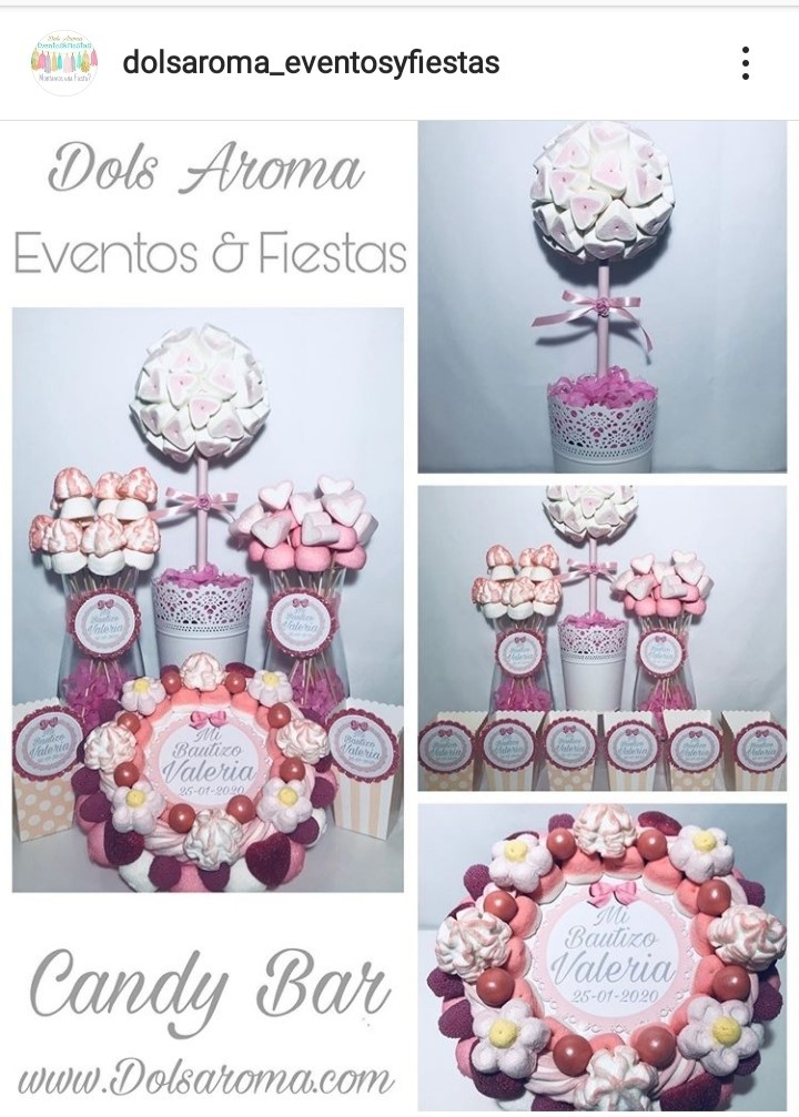 MESA DULCE/CANDY BAR/ BAUTIZO O BABY SHOWER ROSA