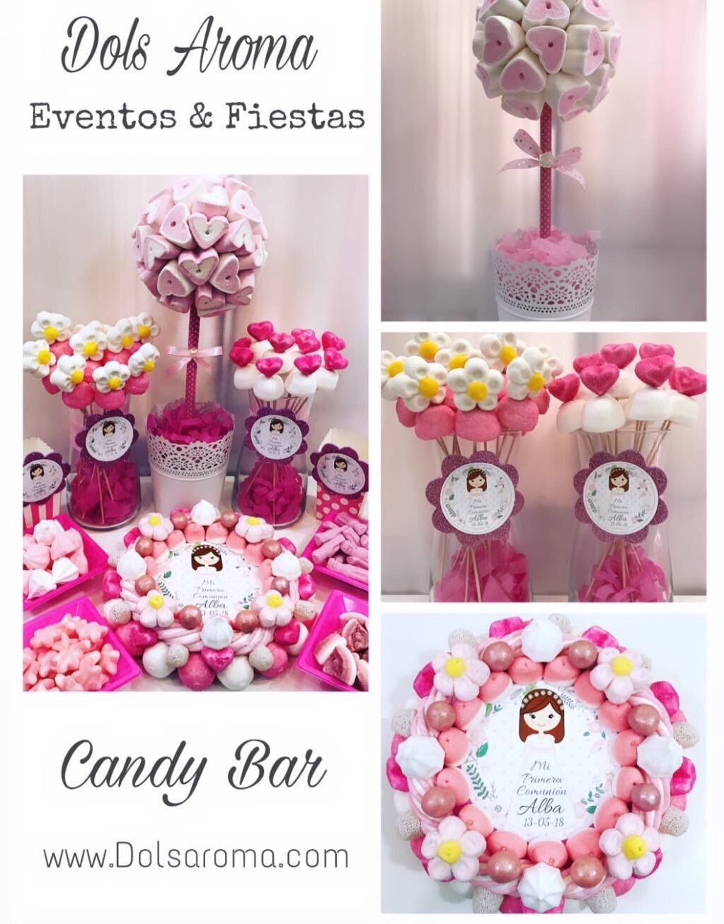MESA DULCE/ CANDY BAR/ COMUNION ROSA